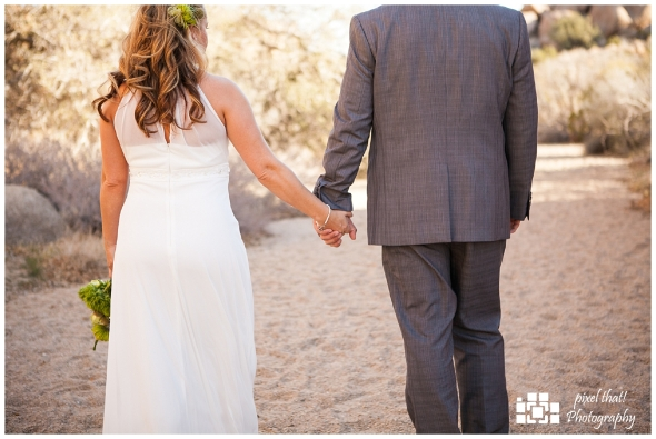 Bride and Groom Holding Hands - Wedding Details - Joshua Tree California Elopment
