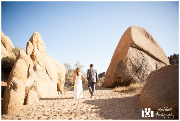 Bride and Groom Walking Desert - Wedding Details - Joshua Tree California Elopment