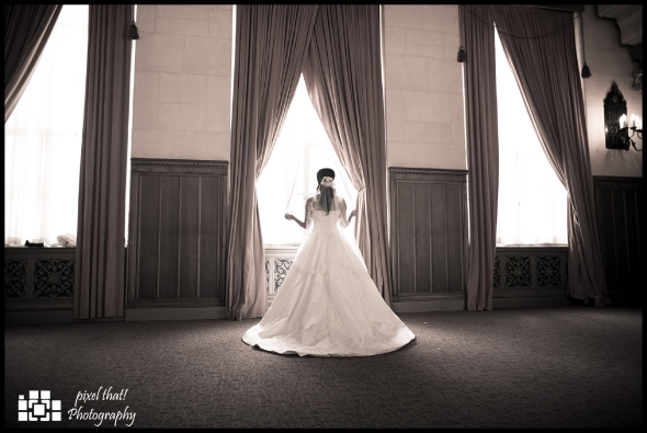 The bride, the dress, a moment of pause.